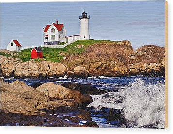 Wood Print featuring the photograph Maine's Nubble Light by Mitchell R Grosky