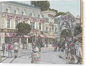 Mainstreet Anytown Usa Wood Print by Jeff Kemper