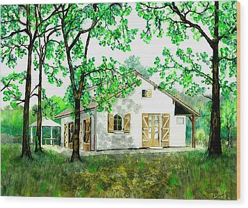 Maison En Medoc Wood Print by Marc Philippe Joly