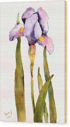 Majestic Purple Iris Wood Print