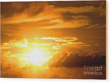 Majestic Sunset Wood Print by Kristine Merc