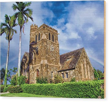 Makawao Union Church 1 Wood Print