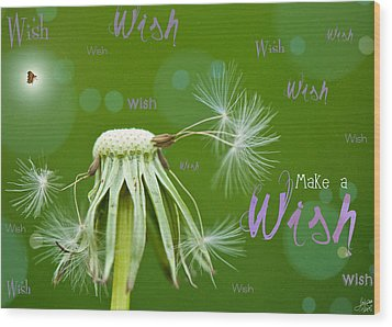 Make A Wish Card Wood Print by Lisa Knechtel