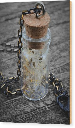 Make A Wish - Dandelion Seed In Glass Bottle With Gold Fairy Dust Necklace Wood Print by Marianna Mills