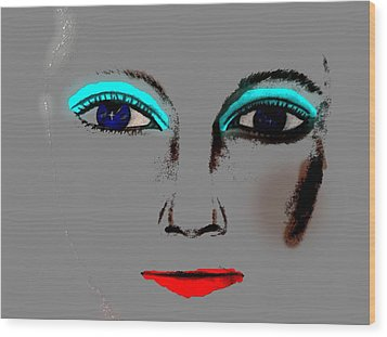 Wood Print featuring the drawing Make Up Digital Painting By Saribelle Rodriguez by Saribelle Rodriguez