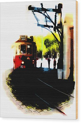 Make Way For The Tram  Wood Print by Steve Taylor