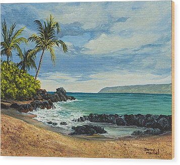 Wood Print featuring the painting Makena Beach by Darice Machel McGuire