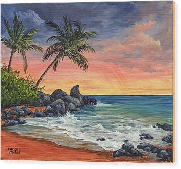 Wood Print featuring the painting Makena Beach Sunset by Darice Machel McGuire