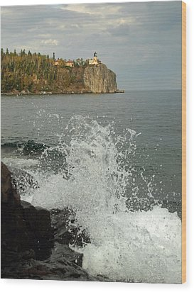 Wood Print featuring the photograph Making A Splash At Split Rock Lighthouse  by James Peterson