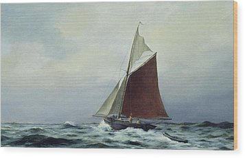 Making Sail After A Blow Wood Print by Vic Trevett