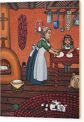 Making Tortillas Wood Print by Victoria De Almeida