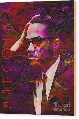 Malcolm X 20140105m28 With Text Wood Print by Wingsdomain Art and Photography