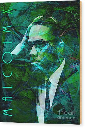 Malcolm X 20140105p138 With Text Wood Print by Wingsdomain Art and Photography