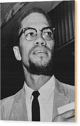 Malcolm X Wood Print by Benjamin Yeager