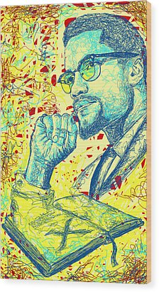 Malcolm X Drawing In Lines Wood Print by Kenal Louis