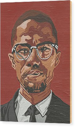Wood Print featuring the painting Malcolm X by Rachel Natalie Rawlins