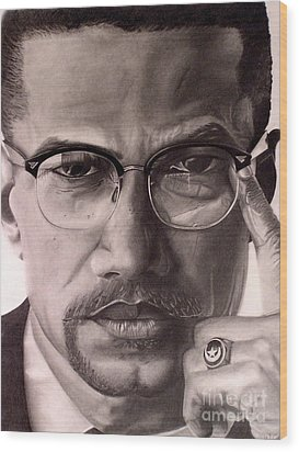 Wood Print featuring the drawing Malcolm X by Wil Golden