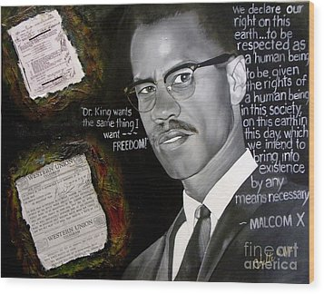 Malcom X Wood Print by Chelle Brantley