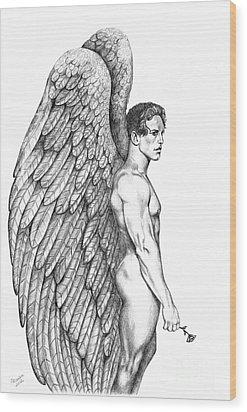 Male Angel With Rose Wood Print by Dawn Rosendahl