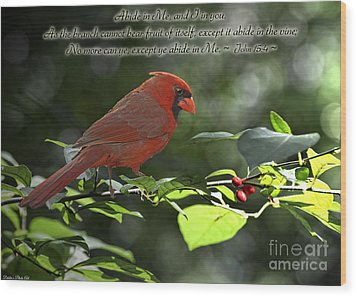 Male Cardinal On Dogwood Branch With Verse Wood Print by Debbie Portwood
