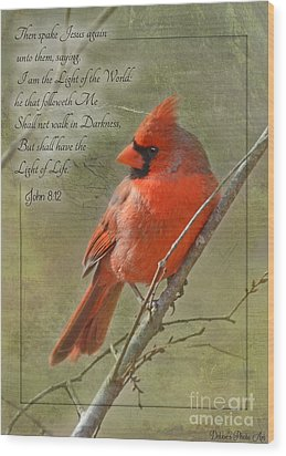 Male Cardinal On Twigs With Bible Verse Wood Print by Debbie Portwood