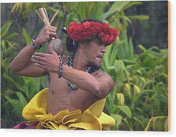 Male Hula Dancer With Small Gourd Instrument Wood Print