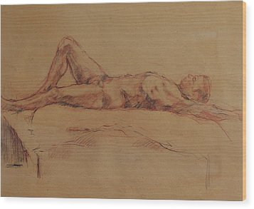 Male Nude 3 Wood Print by Becky Kim