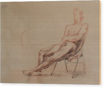 Male Nude 4 Wood Print by Becky Kim