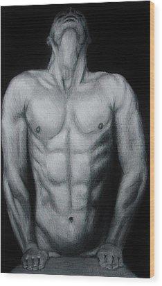 Male Nude Study Wood Print by Michael Cross