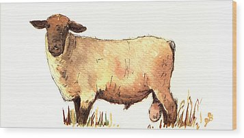 Male Sheep Black Wood Print