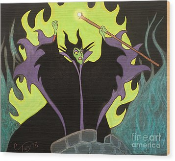 Maleficent Wood Print by Casey Tovey
