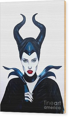 Maleficent Watercolor Wood Print