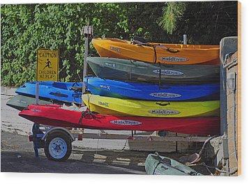 Wood Print featuring the digital art Malibu Kayaks by Gandz Photography