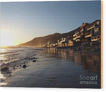 Malibu Topanga Sunset Wood Print by Trekkerimages Photography