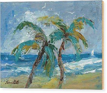 Mallibu Palms Wood Print by Elaine Elliott