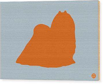 Maltese Orange Wood Print by Naxart Studio