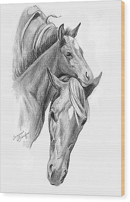 Mama And Baby Horse Wood Print by Suzanne Schaefer