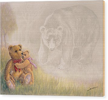 Wood Print featuring the drawing Mama I Saw A Big Bear by Ethel Quelland