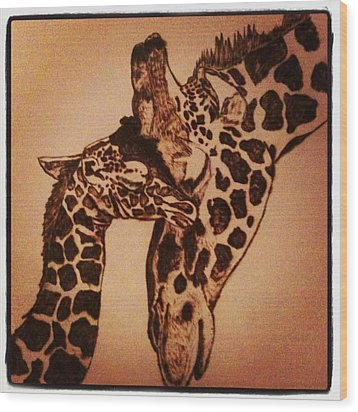 Mama Snuggles Wood Print by Maureen Hargrove