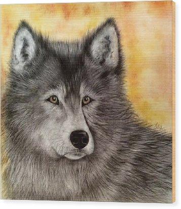 Mama Wolf Wood Print by Annamarie Sidella-Felts