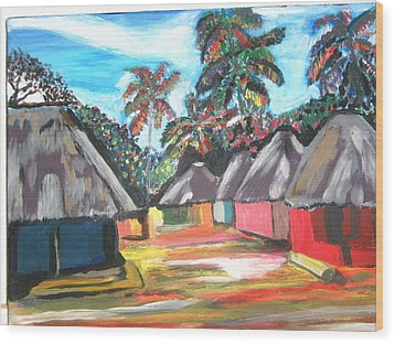 Mamboima The Tamarinds Village Wood Print by Mudiama Kammoh