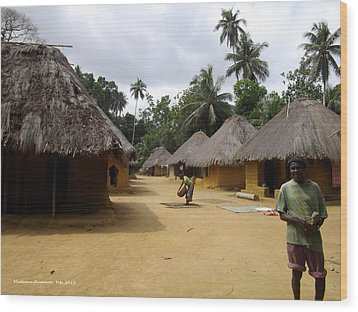 Mamboima Village Wood Print by Mudiama Kammoh