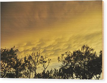 Mammatus Clouds At Sunset Wood Print by Karen Slagle