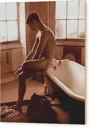 Man And Bath Wood Print by Troy Caperton