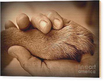 Man And Dog Wood Print