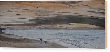Man And Dog On The Beach Wood Print by Ian Donley