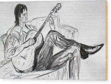 Man And Guitar Wood Print by Asha Carolyn Young