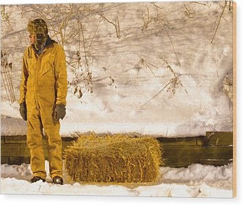Man And Hay Wood Print