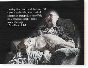 Man And His Dog At Rest 1cor.13v4-5 Wood Print
