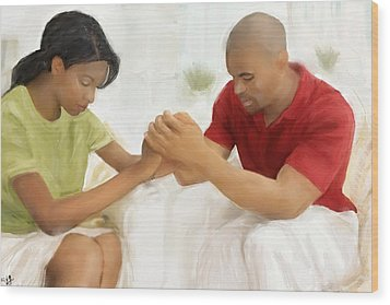 Wood Print featuring the painting Man And Wife Pray by Vannetta Ferguson
